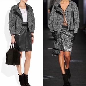 DVF Boucle & Leather Moto Jacket Seen on Runway!!